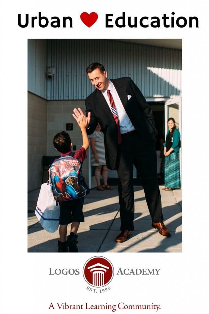 Aaron Anderson, CEO/Head of School welcomes a student at the beginning of the school day.